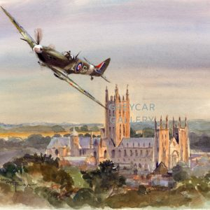Spitfire over Canterbury, Kent-ink