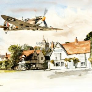 Spitfire over Cavendish, Suffolk-ink